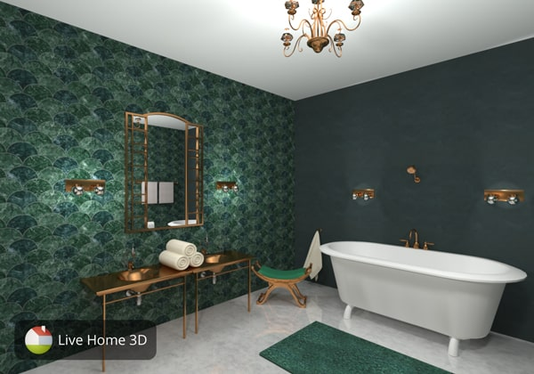 Stylish bathroom in green colors designed in Live Home 3D