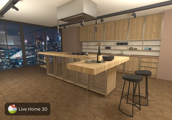 A concealed kitchen design made in Live Home 3D
