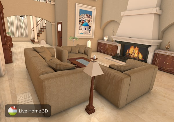 Cozy living room with fireplace designed in Live Home 3D