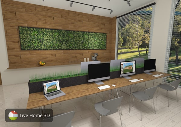 An interior design with indoor garden made in Live Home 3D app
