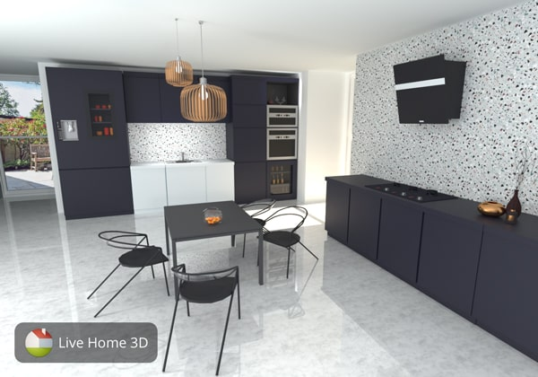 Stylish kitchen in terrazzo style created in Live Home 3D