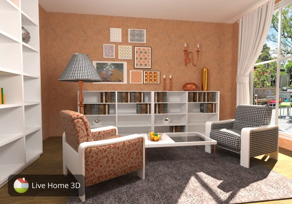 A room designed in 70's style in Live Home 3D