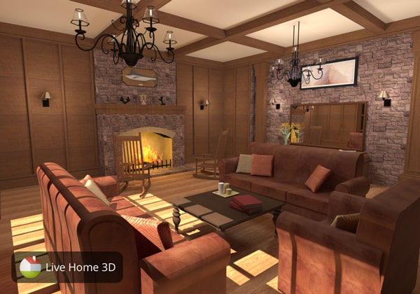 Living room with earth colors designed in Live Home 3D
