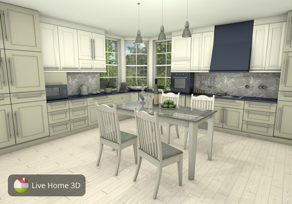 A stylish two tone kitchen designed in Live Home 3D