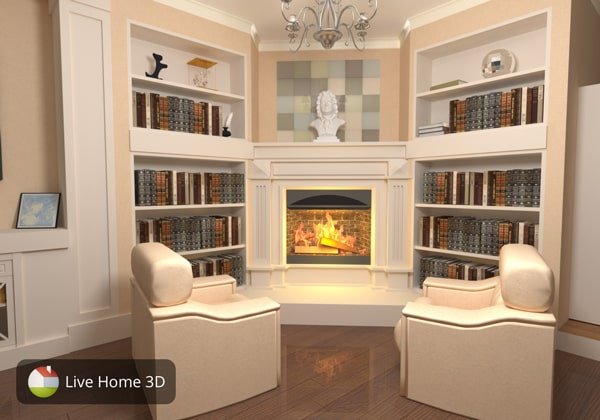 A vintage living room with fireplace designed in Live Home 3D