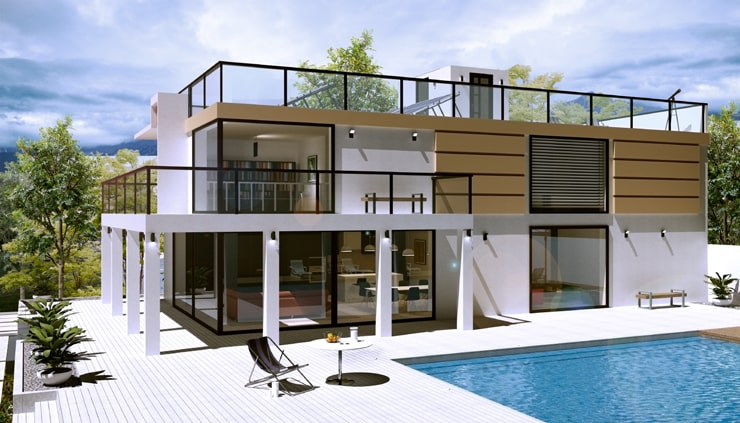 A house design created in Live Home 3D app and rendered in V-Ray