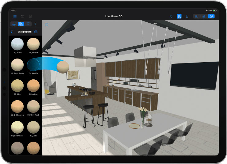 Live Home 3D app launched on the iPad with kitchen design