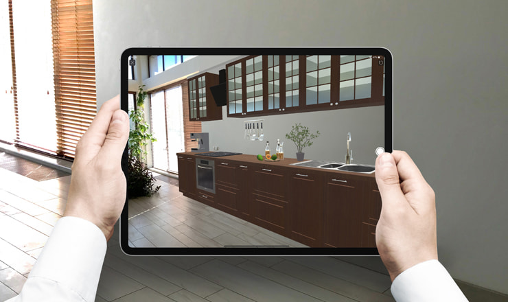 A kitchen viewed in AR (Augmented Reality) in Live Home 3D on an iPad