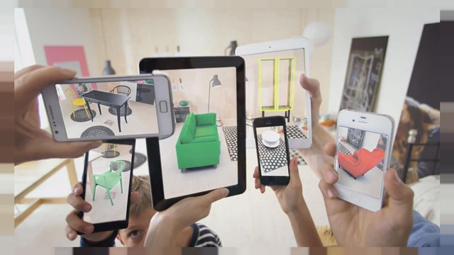 Metaio AR app on screens of smartphones and tablets
