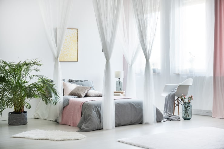 A bedroom design with a canopy