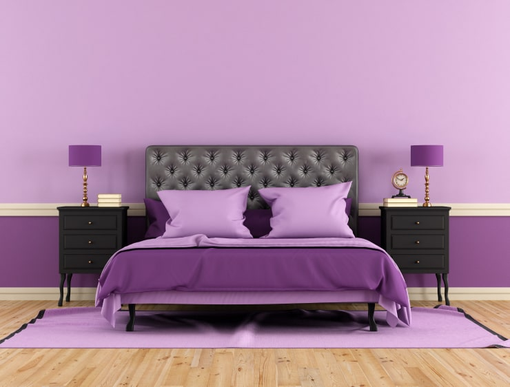 A bedroom in purple colors
