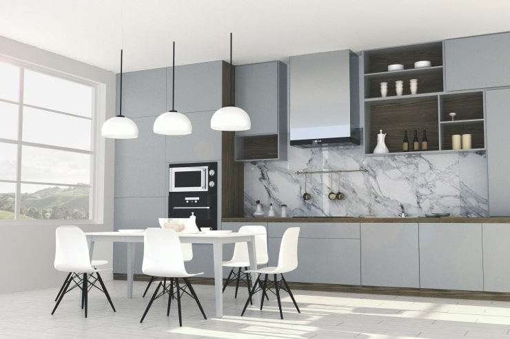 A kitchen in gray and white colors designed in Live Home 3D