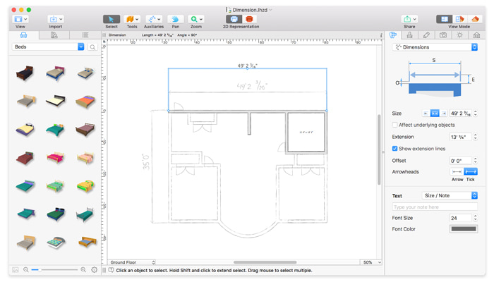 Tracing a floor plan in Live Home 3D for Mac