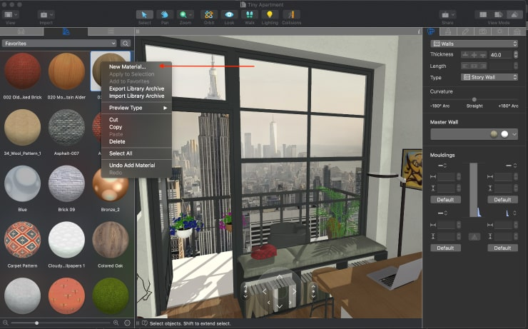 Adding a new material to the Material Library of Live Home 3D for Mac