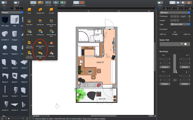 Creating the building block of the necessary size in the 2D view of Live Home 3D for Mac