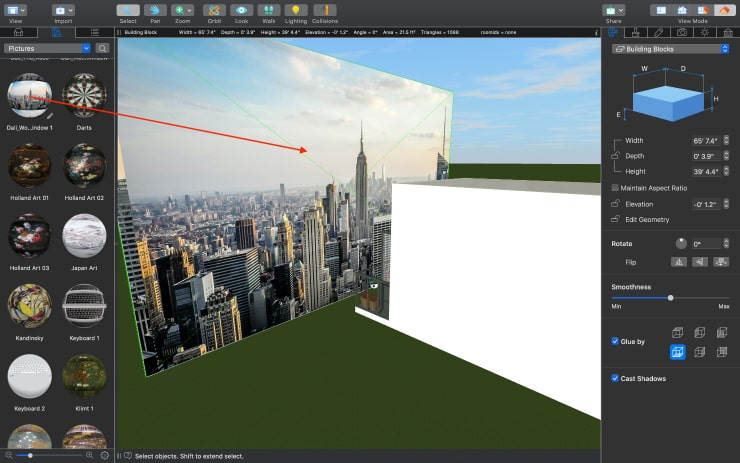 The New York city view image applied to the surface in the Live Home 3D Pro app for Mac
