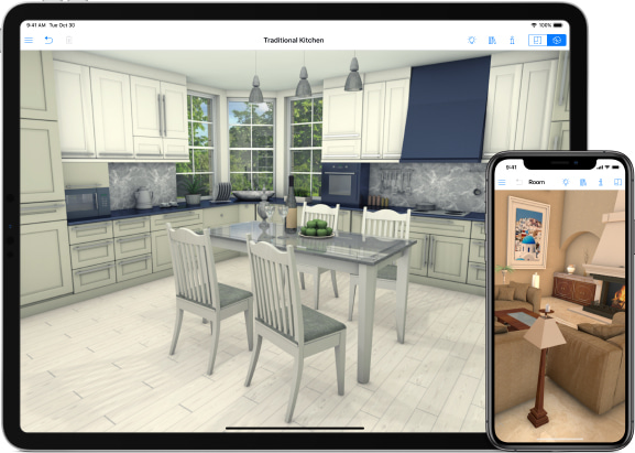 iPad and iPhone with traditional kitchen and living room designs in Live Home 3D iOS app