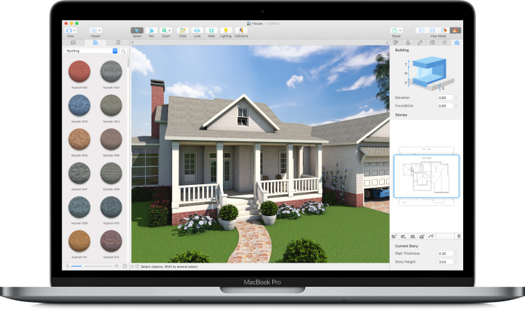 Live Home 3D app with a house project launched on a MacBook laptop