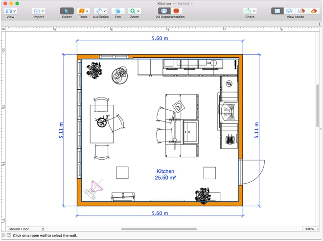 A floor plan to design a kitchen