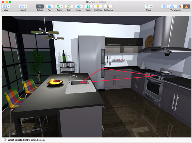 Live home 3d how to design a kitchen for Perfect kitchen triangle