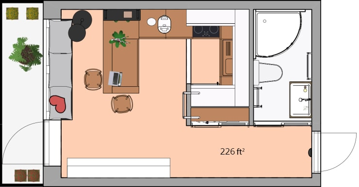 A floor plan of a tiny home made in Live Home 3D
