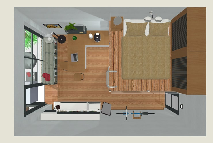 A top view of a tiny home created in Live Home 3D