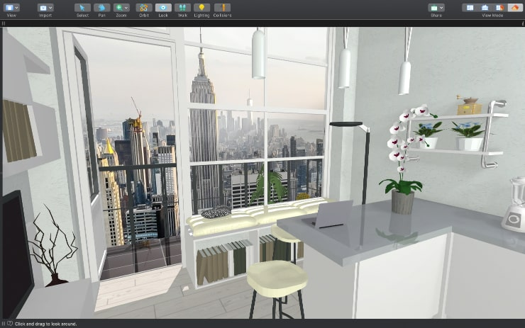 A screenshot of a tiny apartment in New York with city view designed in Live Home 3D