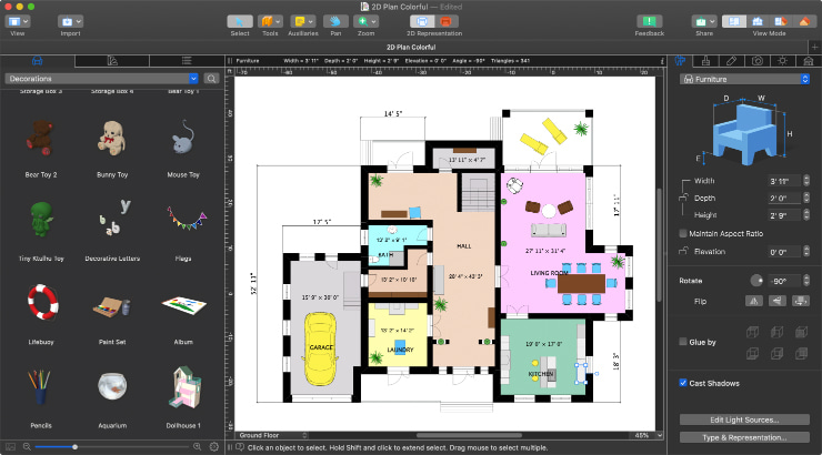 A floor plan with furniture in Live Home 3D Pro for Mac