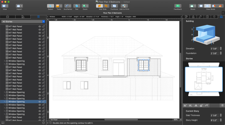 Elevation View in Live Home 3D Pro for Mac