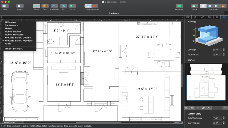 A floor plan with the selection of measurement units in Live Home 3D Pro