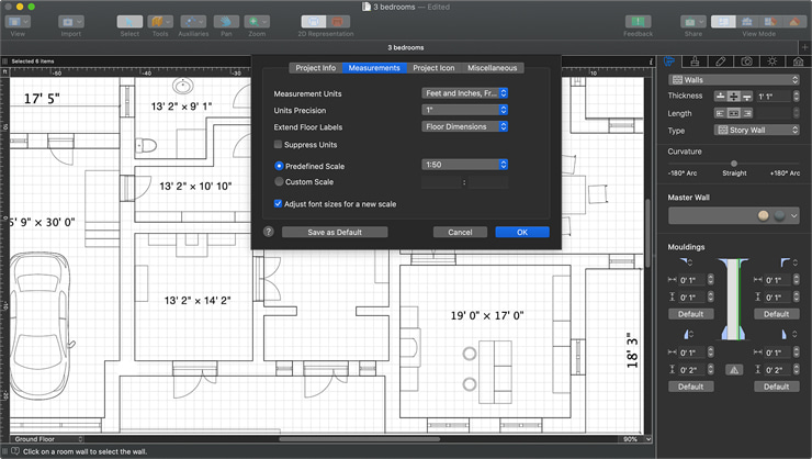 A floor plan with the Measurements tab of the Project Settings dialog of Live Home 3D