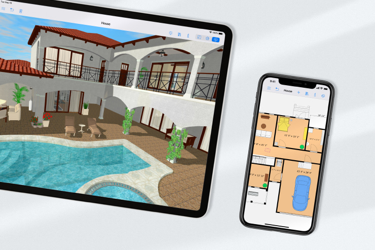 A house design on 3D and a 2D floor plan in Live Home 3D app on an iPad and an iPhone