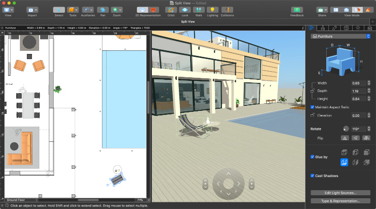 Split View Mode in Live Home 3D Pro for Mac