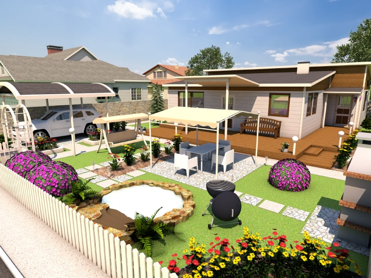 A country house with a garden designed in Live Home 3D