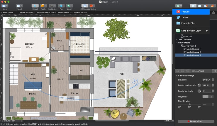 A house floor plan with YouTube sharing in Live Home 3D for Mac