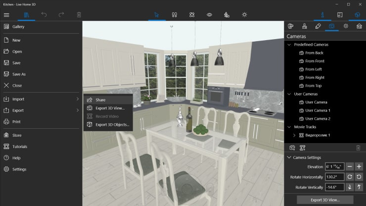 A kitchen design with the Export dialog in Live Home 3D for Windows