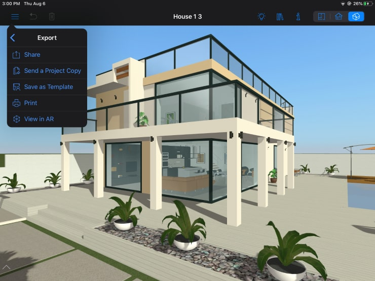 Screenshot of a house made in Live Home 3D for iPadOS