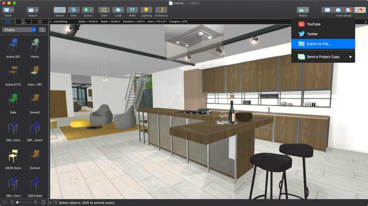 A screenshot of a kitchen with the Export to File dialog in Live Home 3D for Mac