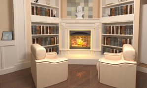 Vintage living room with a fireplace designed in Live Home 3D