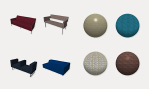Samples of furniture objects and materials