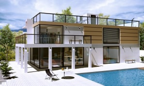 A house design created in Live Home 3D Pro app and rendered in V-Ray