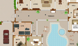 A floor plan of a house with a pool made in Live Home 3D