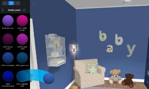Drag and drop of color in Live Home 3D for changing a blue baby room's materials