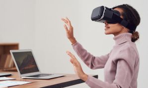 A young woman wearing a VR headset