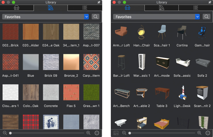 Materials and furniture libraries of Live Home 3D