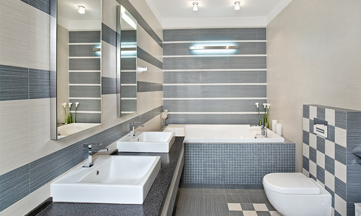 A bathroom designed in gray color