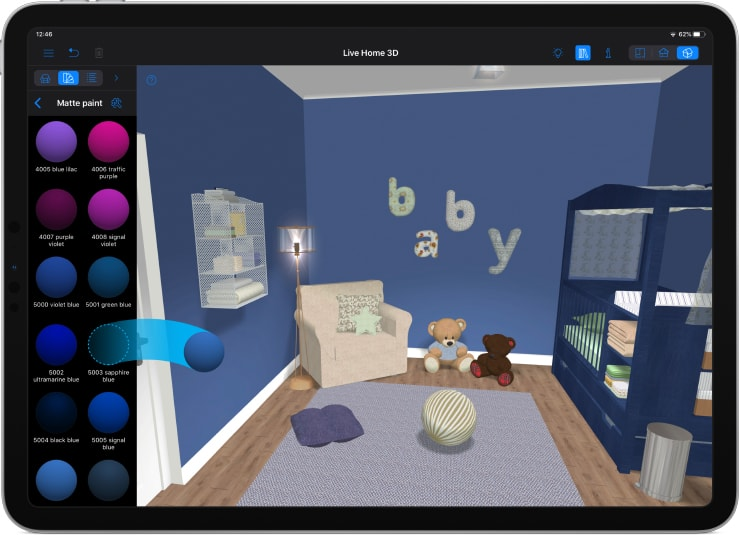 A blue baby room designed in Live Home 3D on an iPad