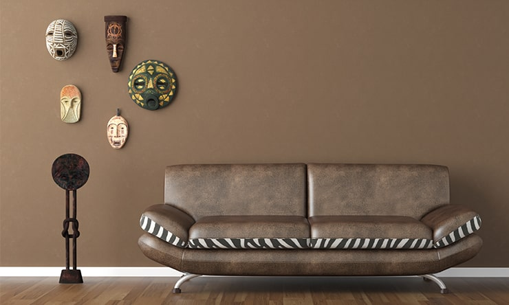 An interior design in brown color with a brown sofa