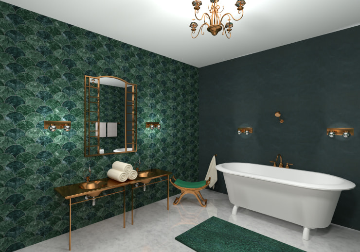 A stylish brathroom in green color designed in Live Home 3D