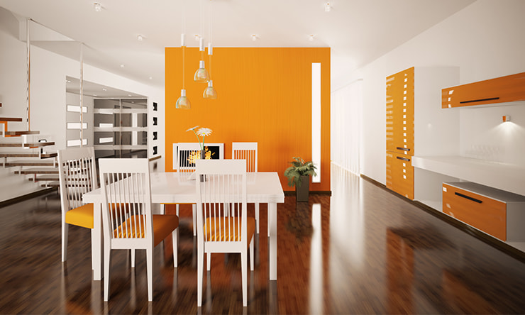 Dining room in orange hues